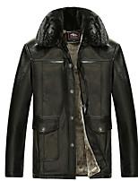 Недорогие -Муж. Повседневные Обычная Кожаные куртки, Однотонный Отложной Длинный рукав Хлопок Черный Один размер
