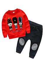 Недорогие -Дети Мальчики Классический С принтом Длинный рукав Обычный Обычная Полиэстер Набор одежды Красный