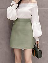 Недорогие -юбки женские из искусственной кожи выше колена - однотонные