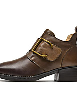 Недорогие -Жен. Наппа Leather Осень Ботинки На толстом каблуке Ботинки Черный / Коричневый