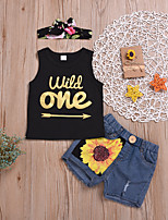 cheap -Kids Girls' Active Basic Vacation Festival Sun Flower Solid Colored Ripped Patchwork Sleeveless Regular Short Clothing Set Black