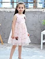 Недорогие -Дети Девочки Цветочный принт Сетка До колена Платье Белый