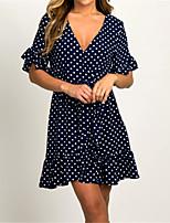 cheap -Women's Sheath Dress Knee Length Dress - Short Sleeve Polka Dot Summer V Neck Elegant Vintage Loose 2020 Black Blushing Pink Brown Navy Blue S M L XL XXL