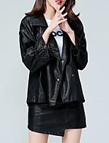 Недорогие -Жен. Повседневные Весна Обычная Кожаные куртки, Однотонный Воротник Питер Пен Длинный рукав Акрил / Полиэстер Черный M / L / XL