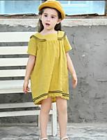 Недорогие -Дети Девочки Однотонный Полиэстер Платье Желтый