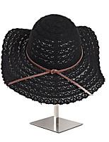 Недорогие -Жен. Симпатичные Стиль Соломенная шляпа / Шляпа от солнца Однотонный