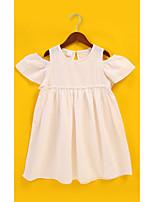 Недорогие -Дети Девочки Активный / Симпатичные Стиль Однотонный Оборки Выше колена Хлопок Платье Белый