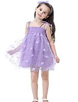 Недорогие -Дети Девочки Однотонный Вышивка До колена Полиэстер Платье Розовый