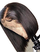 cheap -Human Hair Lace Front Wig Bob Short Bob Side Part style Brazilian Hair Silky Straight Black Wig 130% Density with Baby Hair Natural Hairline For Black Women 100% Virgin 100% Hand Tied Black Women's