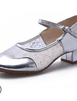 Недорогие -Жен. Обувь для модерна Сетка На каблуках Толстая каблук Танцевальная обувь Черный / Серебряный / Красный
