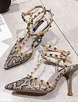 Недорогие -Жен. Полиуретан Лето Винтаж / На каждый день Обувь на каблуках Беговая обувь На шпильке Заостренный носок Черный / Коричневый