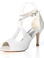 cheap -Women's Wedding Shoes Spring / Summer Stiletto Heel Open Toe Sexy Wedding Party & Evening Sparkling Glitter Solid Colored Synthetics White / Black / Light Purple