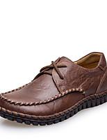 Недорогие -Муж. Комфортная обувь Кожа Осень Мокасины и Свитер Коричневый / Темно-русый