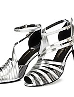 Недорогие -Жен. Обувь для латины Сатин На каблуках Планка Тонкий высокий каблук Персонализируемая Танцевальная обувь Черный / Хаки / Серебристо-серый