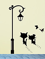 cheap -Cats UnderThe Street Light Wall Stickers Romantic Background for Home Decoration Mural Wallpaper Art Decals Love Cat Sticker