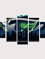 Недорогие -С картинкой Роликовые холсты Отпечатки на холсте - Религиозная тематика Архитектура Современный Modern 5 панелей
