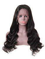 Недорогие -человеческие волосы Remy Лента спереди Парик стиль Бразильские волосы Loose Curl Черный Парик 150% Плотность волос Для темнокожих женщин Черный Жен. Длинные