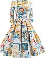 Недорогие -Жен. Классический Оболочка Платье - Геометрический принт До колена