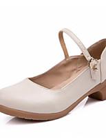 Недорогие -Жен. Обувь для модерна Кожа На каблуках Толстая каблук Танцевальная обувь Черный / Пурпурный / Красный