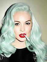 Недорогие -Синтетические кружевные передние парики Естественные кудри Зеленый Стрижка каскад Мятно-зелёный 130% Человека Плотность волос Искусственные волосы 24 дюймовый Жен. Женский Зеленый Парик Длинные