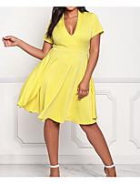 Недорогие -Жен. Тонкие Рубашка Платье Глубокий U-образный вырез Выше колена