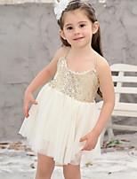 Недорогие -Дети Девочки Однотонный Платье Бежевый