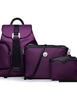 cheap -Women's Zipper Nylon Bag Set Solid Color 3 Pcs Purse Set Black / Purple / Fuchsia
