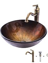 Недорогие -умывальник для ванной / смеситель для ванной / монтажное кольцо для ванной Античный - Закаленное стекло Круглый
