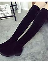 Недорогие -Жен. Замша Наступила зима Ботинки На низком каблуке Сапоги выше колена Черный / Серый