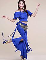 Недорогие -Индийская девушка Болливуд Взрослые Жен. азиатский Пайетки Churidar Salwar Suit Сари Назначение Выступление фестиваль Пайетки Полиэстер Кофты Брюки Пояс