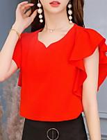 Недорогие -Жен. Блуза V-образный вырез Тонкие Однотонный