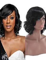 Недорогие -Парики из искусственных волос Естественный прямой Черный Стрижка каскад Черный Искусственные волосы 14INCH Жен. Регулируется / Жаропрочная / Классический Черный Парик Короткие Без шапочки-основы