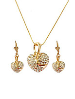 cheap -Women's Drop Earrings Pendant Necklace 3D Heart Stylish Unique Design Rhinestone Rose Gold Plated Earrings Jewelry Rose Gold / Gold / Rose Gold 2 For Gift Daily 1 set