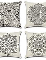 Недорогие -4.0 штук Хлопок / Лён Наволочки, Богемный стиль геометрический Цветочный принт Традиционный / винтаж Богемный