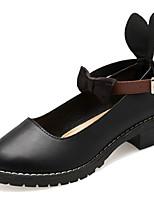 Недорогие -Жен. Полиуретан Весна Минимализм Обувь на каблуках На толстом каблуке Бант Черный / Бежевый / Контрастных цветов