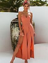 Недорогие -Жен. Уличный стиль Черный Оранжевый Комбинезоны, Однотонный M L XL