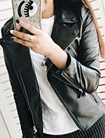 Недорогие -Жен. Повседневные Весна Обычная Кожаные куртки, Однотонный Приподнятый круглый Длинный рукав Искусственная кожа Черный XS / S / M