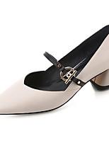 Недорогие -Жен. Полиуретан Весна Минимализм Обувь на каблуках На толстом каблуке Заостренный носок Бежевый