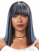 Недорогие -Парики из искусственных волос Естественный прямой Синий Стрижка боб / С чёлкой Светло-синий Искусственные волосы 14 дюймовый Жен. новый Синий Парик Средняя длина Без шапочки-основы