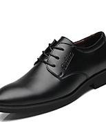 Недорогие -Муж. Комфортная обувь Полиуретан Весна Деловые Туфли на шнуровке Нескользкий Черный
