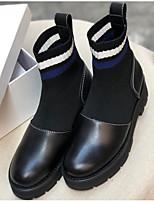 Недорогие -Жен. Наппа Leather Наступила зима Ботинки На толстом каблуке Ботинки Черный