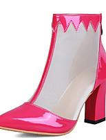 Недорогие -Жен. Сетка / Полиуретан Весна лето Ботинки На толстом каблуке Заостренный носок Оранжевый / Пурпурный / Зеленый / Контрастных цветов