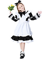 cheap -Maid Costume Dress Masquerade Flower Girl Dress Women's Girls' Movie Cosplay A-Line Slip Cosplay Halloween Black / Pink / Light Blue Dress Sleeves Apron Halloween Carnival Masquerade Polyester / Bow