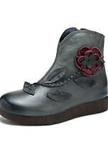 Недорогие -Жен. Кожа Наступила зима Ботинки На плоской подошве Ботинки Серый / Красный