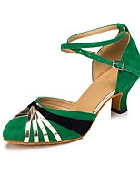 Недорогие -Жен. Обувь для модерна Сатин На каблуках Планка Кубинский каблук Персонализируемая Танцевальная обувь Зеленый