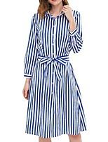Недорогие -Жен. Классический Оболочка Рубашка Платье - Полоски, Рюши До колена