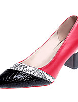 Недорогие -Жен. Полиуретан Весна На каждый день Обувь на каблуках На толстом каблуке Заостренный носок Черный / Красный / Контрастных цветов