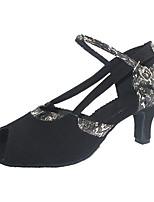 Недорогие -Жен. Обувь для латины Замша Сандалии Кубинский каблук Персонализируемая Танцевальная обувь Черный