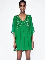Недорогие -Жен. Уличный стиль Зеленый Комбинезоны, Однотонный Вышивка S M L