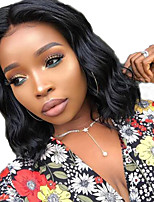 cheap -Human Hair Lace Front Wig Bob Short Bob Free Part style Brazilian Hair Wavy Black Wig 130% Density with Baby Hair Natural Hairline For Black Women 100% Virgin 100% Hand Tied Black Women's Short Human